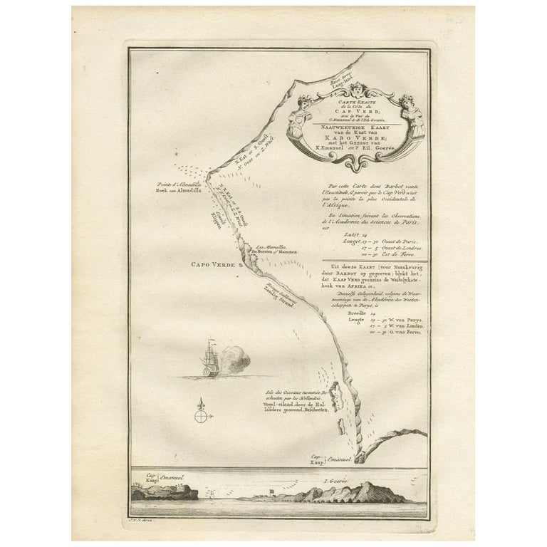 Antique Map of the Coast of Cape Verde by J. Van Der Schley, circa 1750 For Sale