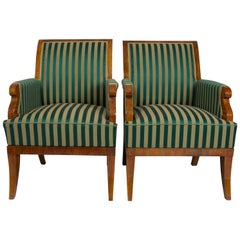 Completely restored pair of Biedermeier Armchairs, material Walnut, new fabric