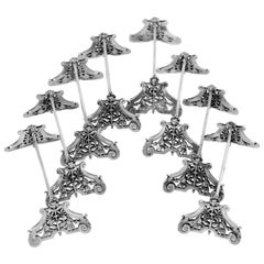 Guerchet Rare French All Sterling Silver Knife Rests Set Eight Pc, Neoclassical