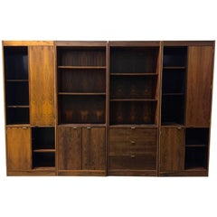 Four 1970s Danish Rosewood Bookcase Cabinets