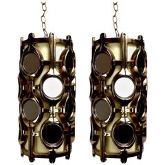 Pair of Reflective Metallic Finish Chandeliers