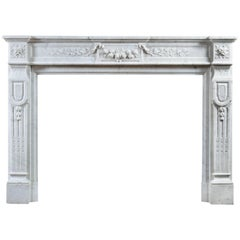 French 19th Century Carrara Marble Fireplace