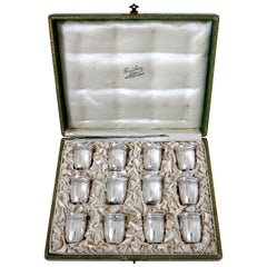 Crossard French Sterling Silver 18-Karat Gold Liquor Cups 12 Piece, Original Box