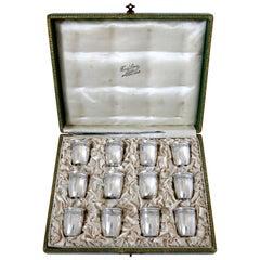 Crossard French Sterling Silver 18-Karat Gold Liquor Cups 12 Piece, Original Box