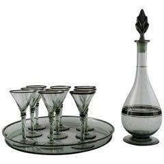 Simon Gate for Orrefors, Art Deco Art Glass 9-Piece Liqueur Set with Decanter