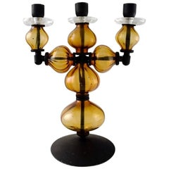Erik Höglund for Kosta Boda, Large Three-Armed Candlestick of Cast Iron
