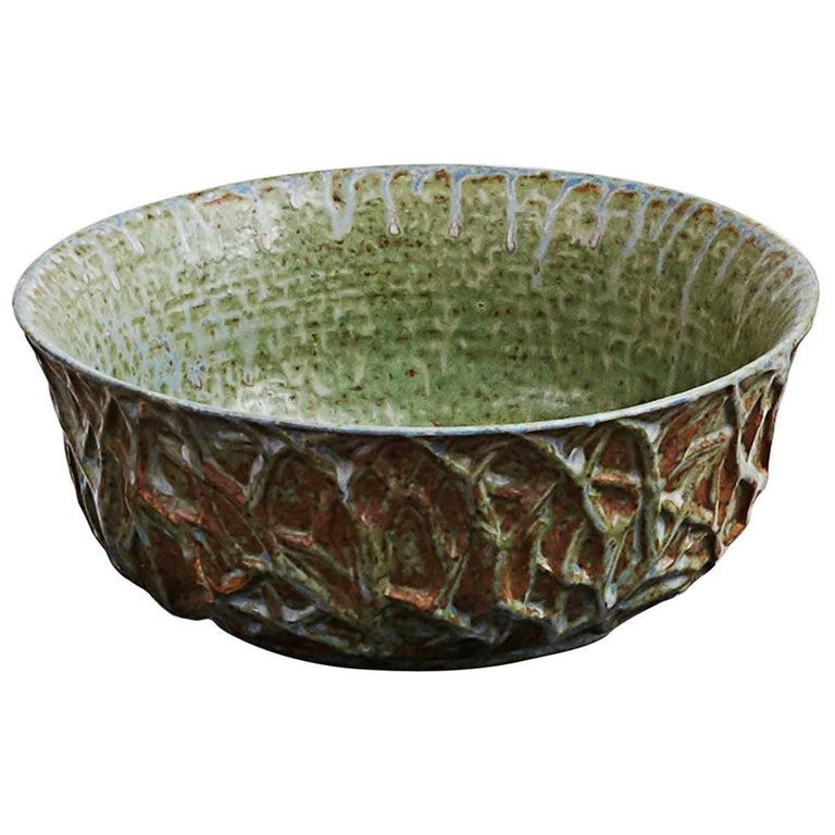 Axel Salto Stoneware Bowl with Relief, circa 1930