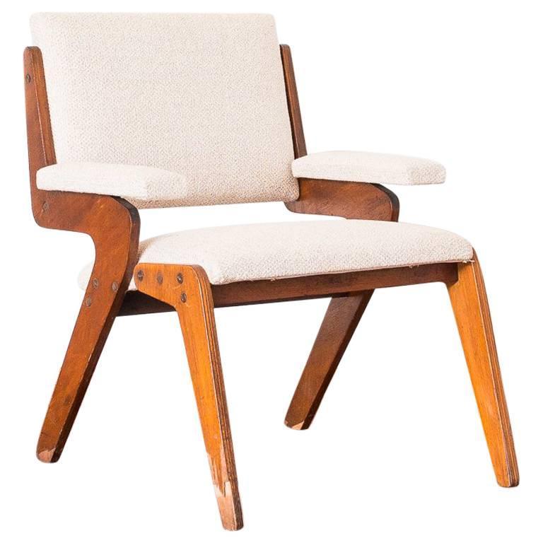 José Zanine Caldas Armchair in Plywood and Cotton Fabric, Brazil, 1950s