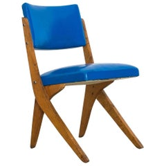 1950s Chair in Pau Marfim Wood and Blue Vinyl by José Zanine Caldas, Brazil