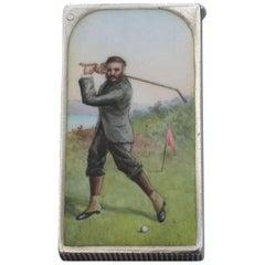Victorian Silver & Enamel Golfing Vesta Case by Sampson Mordan & Co London, 1892