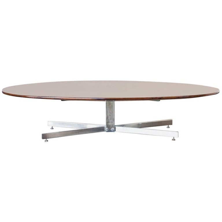Jorge Zalszupin Elliptical Coffee Table in Rosewood and Chrome, Brazil, 1960s