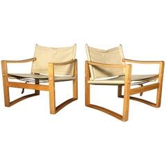 Pair of Børge Jensen & Sønner Safari Chairs, Denmark, 1960s