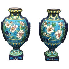 Pair of Emaux de Longwy Attributed Floral Enameled Vases, France