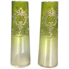 Pair of Bohemian Art Deco Moser Attributed Decorated Bud Vases, 1925