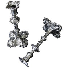 Pair of Geo II Cast Silver Candlesticks