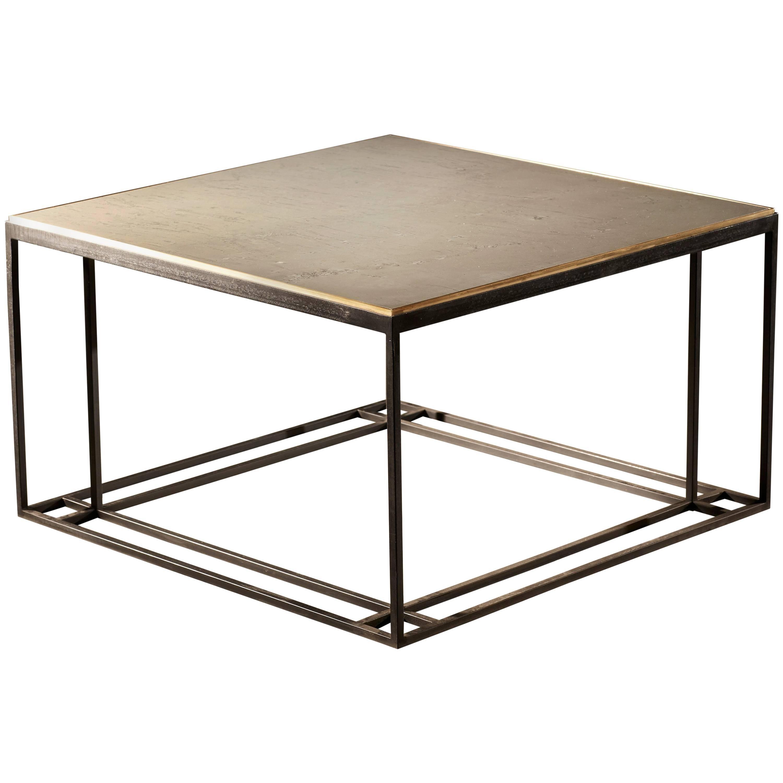 Silver Binate Art Deco Minimal Metal Coffee Table in Steel and Slate