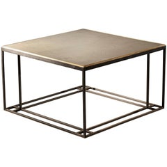 Silver Binate Art Deco Minimal Metal Coffee Table in Steel and Slate