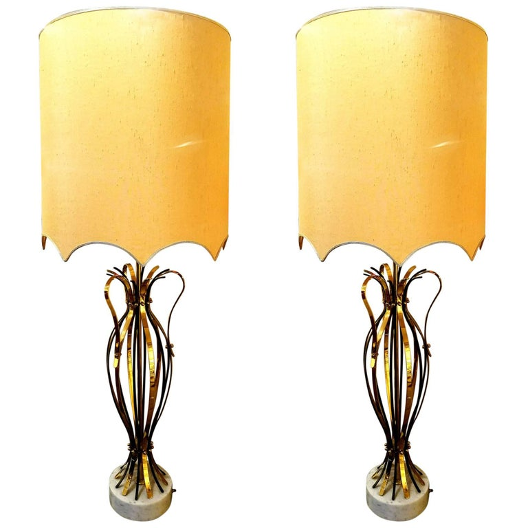 Monumental Pair of Brass Cage Urn Form Lamps