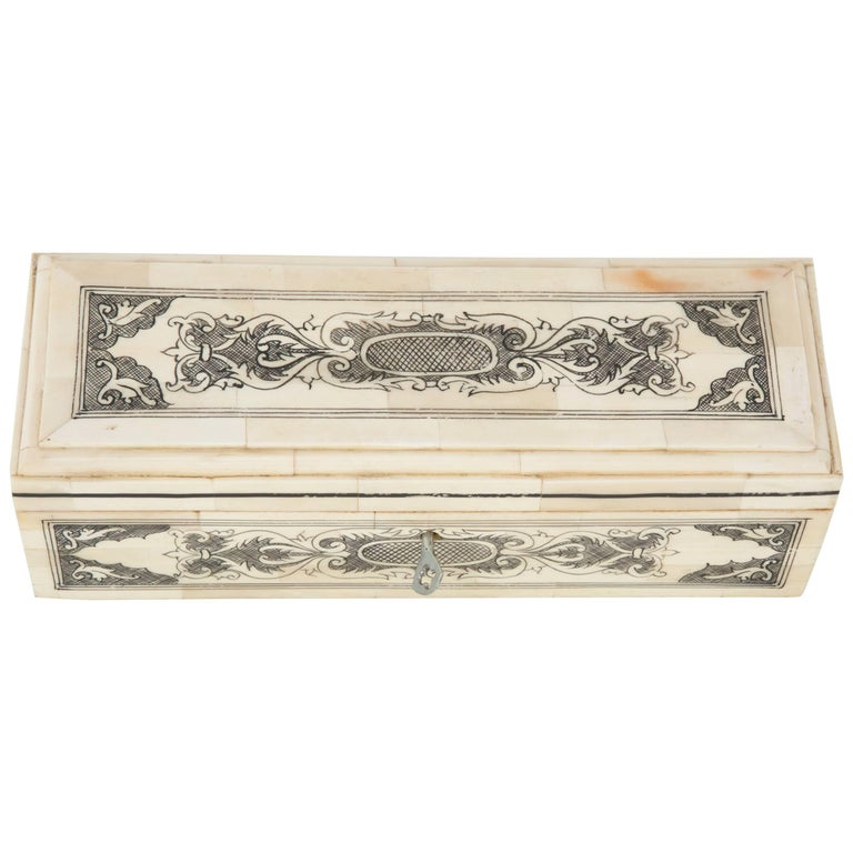 Anglo-Indian Bone Veneer Pen Box