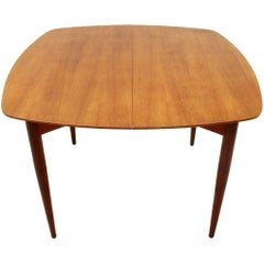 Italian Teak Extendable Dining Table with Brass Handle, 1950s