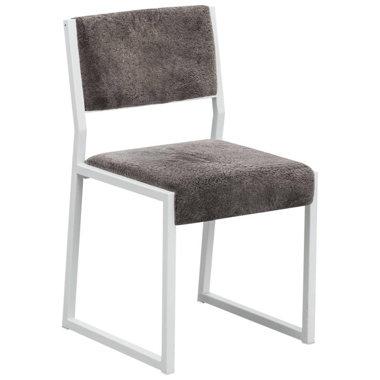 Bandholz Dining Chair by Uhuru, White Metal Frame and Upholstered Seat