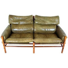 Two-Seat Leather Sofa Model Kontiki Designed by Arne Norell for Norell AB Sweden