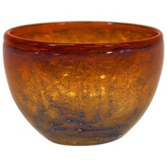 Orange Patterned Glass Bowl from 1968 by Benny Motzfeldt, Norway