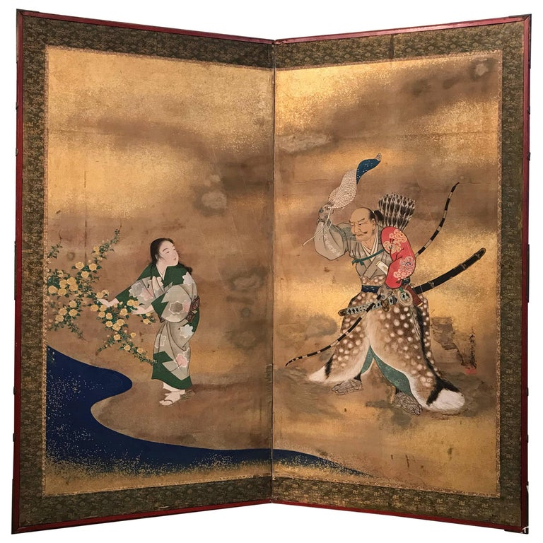 Two Panel Japanese Screen with Figures and Stream For Sale