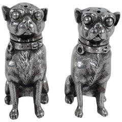 Pair of Pug Sterling Silver Salt and Pepper Shakers