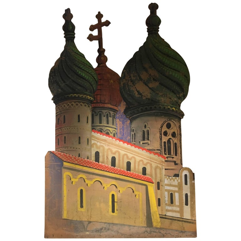 Vintage Scenography Panel Theatrical Backdrop Kremlins, Russia, 20th Century