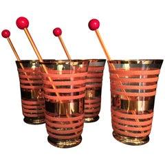Vintage Orange Stripes Glasses Design, 1960, Italy