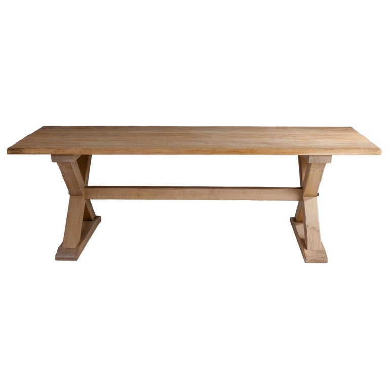 Bespoke French Oak X-Frame Table For Sale