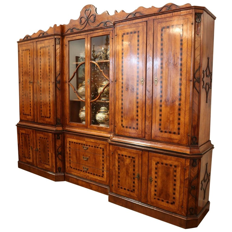 Hand Carved Bookshelf ~ Hand carved italian inlaid walnut breakfront bookcase for
