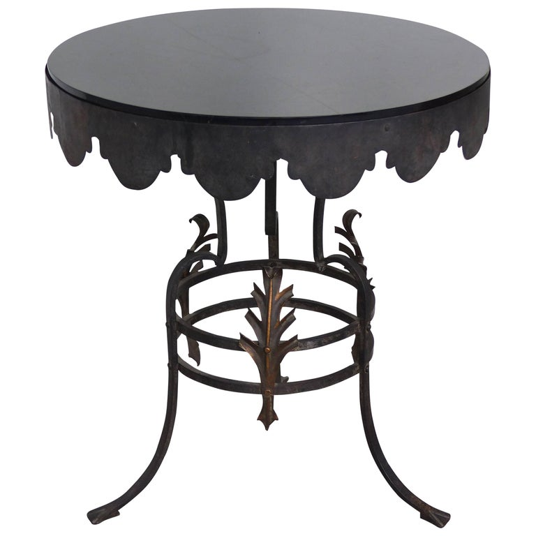 Midcentury Scalloped Metalwork Side Table with Thick Black Glass Top