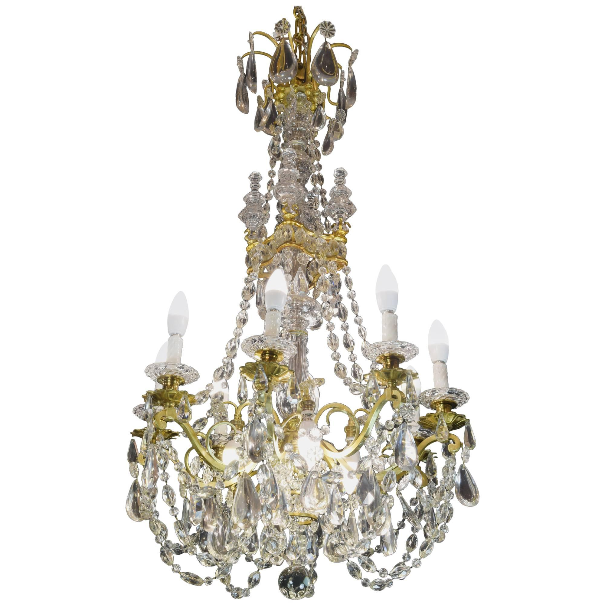 Baccarat Signed Chandelier Glass and Gilt Bronze, 19th Century