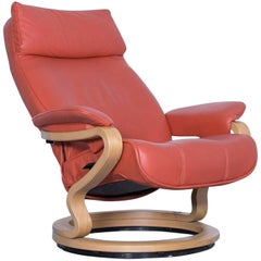 Himolla Zerostress Designer Armchair Leather Orange Relax One Seat Couch Modern