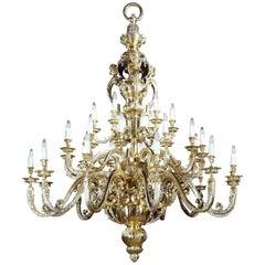 Large and Impressive Gilt-Bronze Regence Style 30-Branch Chandelier