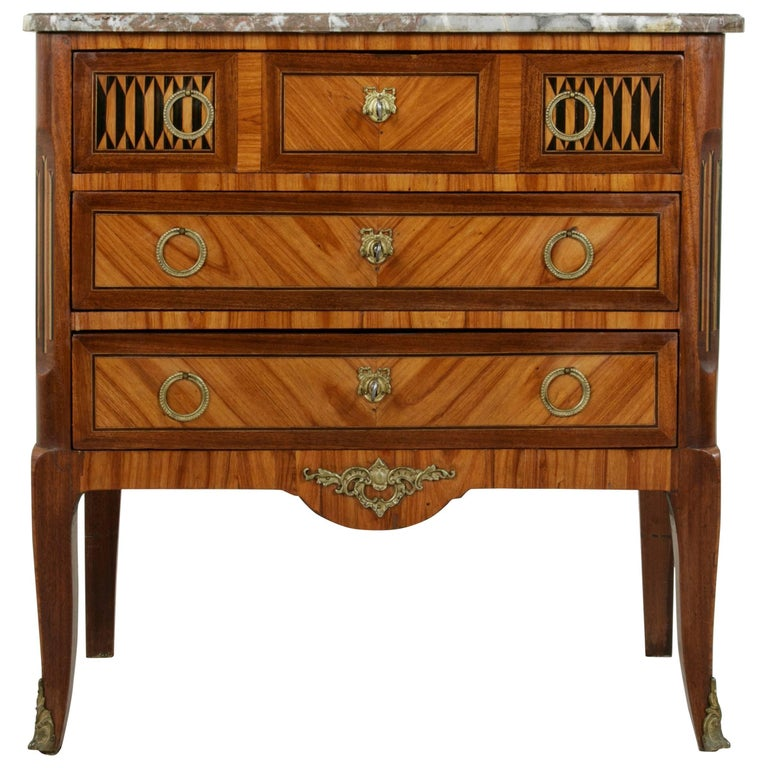 Small-Scale French Transition Style Marquetry Commode, Chest, Nightstand