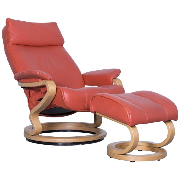 Himolla Zerostress Armchair With Footstool Leather Orange Relax One Seat Couch At 1stdibs