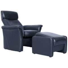 Designer Chair Set Black Leather Relax Function Footstool Pouf Couch Modern