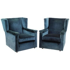 Pair of English, 1930s Wingback Armchairs