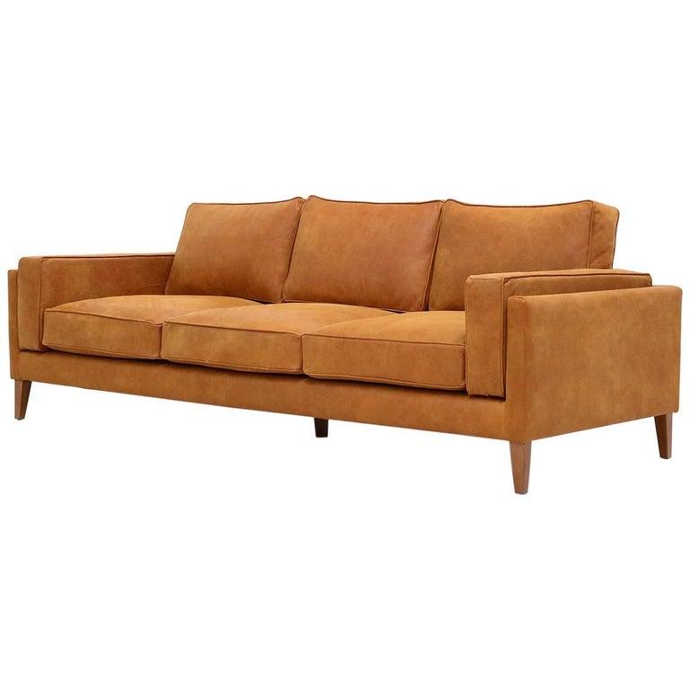 Danish Midcentury Style Three-Seat Leather Sofa Coyoacan