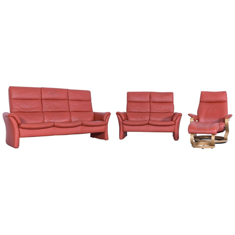 himolla zerostress sofa set leather orange relax one seat couch armchair stool at 1stdibs. Black Bedroom Furniture Sets. Home Design Ideas