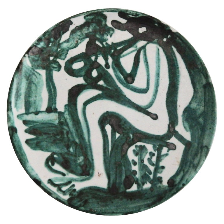"Robert Picault  ""Flute Player"" Ceramic Plate, 1950 1"