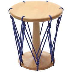Baque Stool in Wood and Blue Cord, Contemporary Design