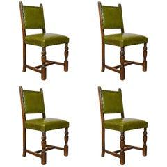Set of Four Antique Dining Chairs, Jacobean Revival, English Oak, circa 1910