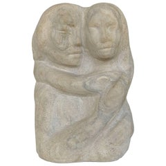 Midcentury Figurative Carved Limestone Sculpture by Florence Krieger, 1919-2011