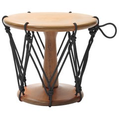 Baque Contemporary Wood Stool in Black