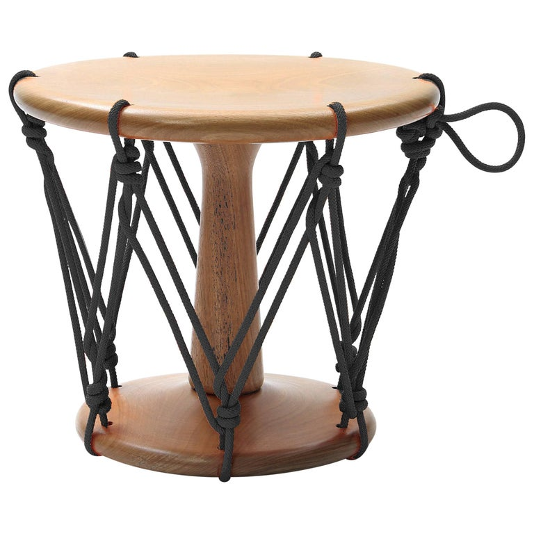 Baque Contemporary Wood Stool in Black For Sale