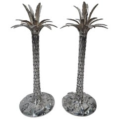 Pair of Fabulous Tiffany Sterling Silver Palm Tree Candlesticks